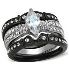 Black Stainless Steel Marquise CZ Wedding Engagement 3PC Women's Ring  Set