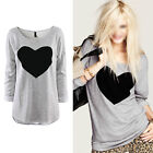 Heart Love Printed T-Shirt Womens Crew neck Cotton Casual Blouse Tops Shirt S-XL