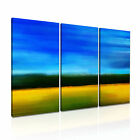 MODERN ABSTRACT ART Yellow Blue Illusions Canvas Framed Print ~ 3 Panels