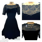 NEW MARKS & SPENCER M&S VELVET SKATER DRESS BLACK LACE PARTY 8 10 12 14 16 18 20