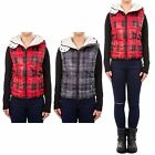 Hidden Fashion Womens Ladies Sheep Skin Lined Plaid Print Hooded Gilet