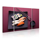 JAPANESE FOOD 2 Asian Food & Drink 3B Canvas Framed Printed Wall Art ~ 3 Panels