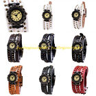 Fashion Women's Sport Punk Faux Leather Zinc Alloy Quartz Bracelet Wrist Watch