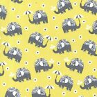 WATER FOR ELEPHANTS - CITRON YELLOW & GREY - MICHAEL MILLER COTTON FABRIC