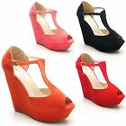 New Sexy Ladies High Platform T Bar Strap Wedge Peep Toe Sandals Size UK 3-8