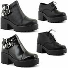 New Ladies Chunky Mid Heel Lace Up Cleated Sole Ankle Chelsea Boots UK Size 3-8