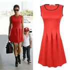 Summer Red Women's Celeb Sleeveless Evening Party Cocktail Short Pleated Dress