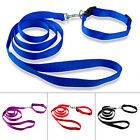 Small Dog Nylon Walking Leash Collar Set Neck  for 19-40cm Black Blue Purple Red