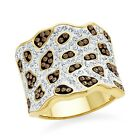 Brown and White Crystal Fashion Ring In Gold-Plated Bronze