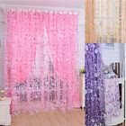 Print Floral Voile Door Curtain Window Room Curtain Divider Scarf