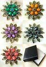 """Faceted Viened Crystal Flower Bronze Petal Pin Brooch ~ Gift Box  6.3cm 2.6"""""""