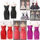 XMAS RED FLORAL PENCIL WIGGLE Masquerade Pageant Evening FORMAL TEA PROM DRESSES