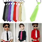 School Boys Kids Baby Wedding Party Solid Elastic Satin Monochrome Ties Neck tie