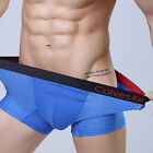 Mens Underwear Sexy Mesh Boxer Briefs Breathable Black Red Size XL  Underpants