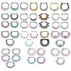 Septum Clicker Nose Daith Rings with CZ Gems Nose Piercing 316L Steel 16G 1.2mm