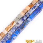 """Natural Stone 4mm Square Beads For Jewelry Making Strand 15"""" 5 Materials Pick"""