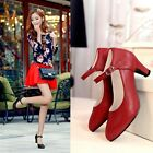 Sweet Womens Ankle Strappy Mary Janes Round Toe Velcro High Heel Dancing Shoes