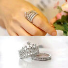 Rhinestone Crown Wedding Band Ring Set