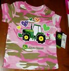 John Deere girls Pink camouflage shirt with hearts & tractor on front