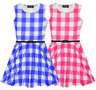 Girls Check Dress Kids Summer Skater Party Dresses Pink Blue New Age 7-13 Years