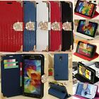 Bling ID Card Wallet Diamond Crystal Crocodile Flip Leather Cover Case For Phone