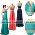 Beaded Sheer V Neckline Party Prom Dresses Long Bridesmaid Girls Evening Gowns