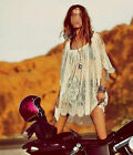 Women's Vintage Hippie Boho Embroidered Lace Floral Crochet Mini Dress Free-ship
