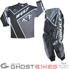 Wulf Crossfire Cub Motocross Kit Black Armour Strech Panels Suit Buckles Junior