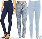 HIGH WAISTED TUBE JEANS Womens STRETCH BLUE DENIM SKINNY FIT DISCO PANT 6 to 14