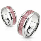 Pink Carbon Fiber Inlay Band Ring Stainless Steel