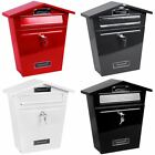 Steel Post Box Large Mailbox Lockable Letter Mail Wall Mounted By Home Discount