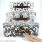GREY AND WHITE FLORAL SUITCASES - SET OF 3 or SINGLE -  GIFT STORAGE