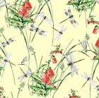 DRAGONFLIES & WILDFLOWER YELLOW - RIVERBANK BY MAKOWER INPRINT100% COTTON FABRIC