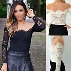 New Sexy Womens Mesh Off-Shoulder Long Sleeve Floral Lace Shirt Blouse Slim Tops