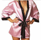Sexy Pink Silky Satin Robe Dressing Gown Short Comfy