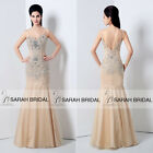 Spaghetti Evening Prom Dresses Hand Beaded Lace Tulle Bodycon Pageant Gowns Silm