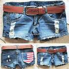 Fashion Womens Vintage Denim Low Waist Blue Jean Shorts DISTRESS HOT Pants VE4A