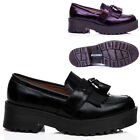 NEW WOMENS BLOCK HEEL CLEATED SOLE TASSLE PLATFORM SHOES SIZE 3 - 8