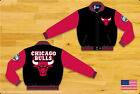 NBA JH Design Chicago Bulls Wool Jacket made in USA New Handmade Black and Red
