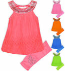Girls Set Kids Dress Leggings Summer Outfit New Age 2 3 4 5 6 7 8 9 10 Years