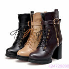 New Womens Fashion High Heel Shoes Zipper Lace UP Mid Calf Boots AU Size Y1193
