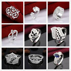925 Sterling Silver Crystal Hollow Flower Heart  shapes Cocktail Finger Ring