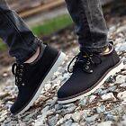 Mens Casual Round Toe Tan Leather Ankle Walking Work  Shoes Hiking Boots 5 Size