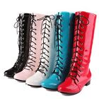 Comfort Fashion Calf High Low Heel Laces Up Riding Women Boots Au All Size F243
