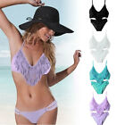 Hot Sexy V Neck Tassel Women Bikini Set PUSH-UP Padded Bra Swimwear Swimsuit