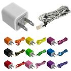 Noodle Rope Braided Sync Usb Data Cable 10ft+wall Travel Ac Charger For Iphone