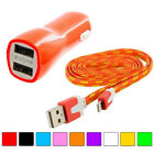 Noodle Rope Braided Sync Usb Data Cable Cord 3ft + 2-port Car Charger For Iphone