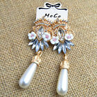 Women Pearl Crystal Drop Dangle Shiny Pierced Party Wedding Cocktail Earring C