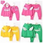 New Adorable baby Girl Angel with wing Outfit set 2pcs tracksuit size1-5yrs
