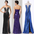❤SHINY SEQUIN❤Sexy Split Long Evening Prom Party Wedding Bridesmaid Formal Dress